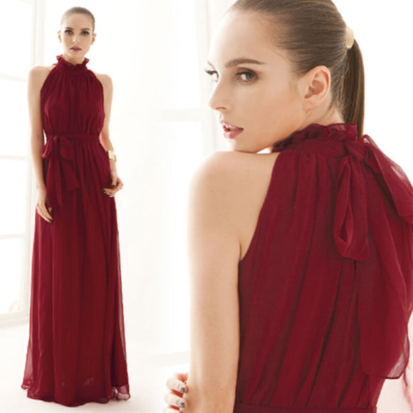 Wine Red 2018 Pleated Flowing Chiffon Holiday Beach Maxi Dress