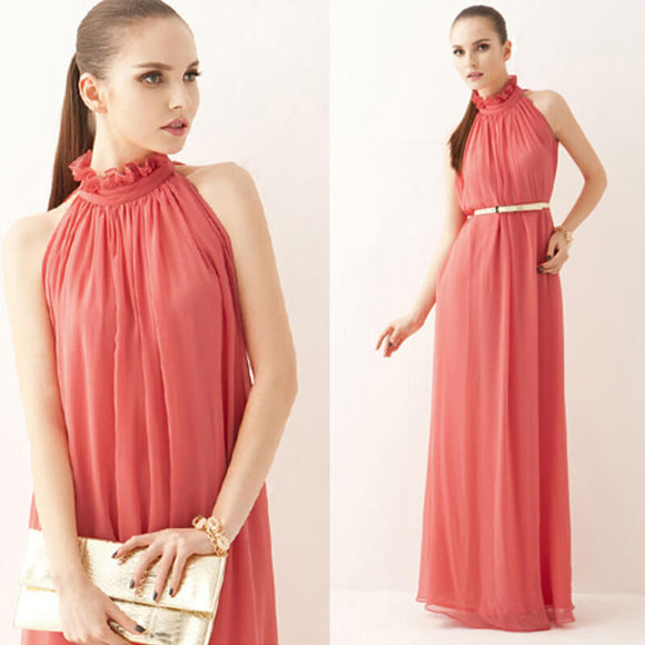2018 Watermelon Pleated Flowing Chiffon Holiday Beach Maxi Dress