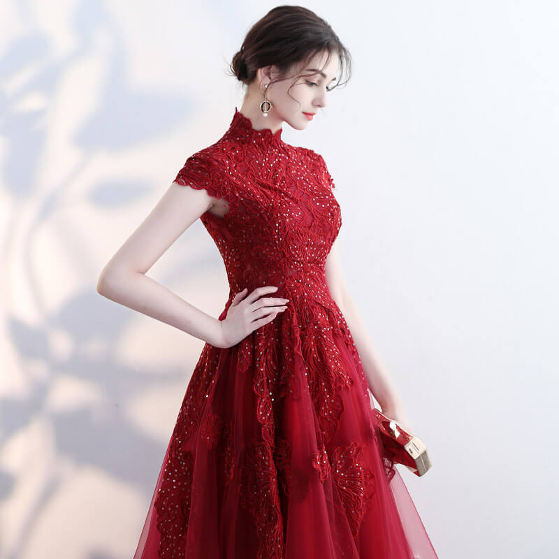 Vintage Wine Red Formal Gown Embroidery Lace