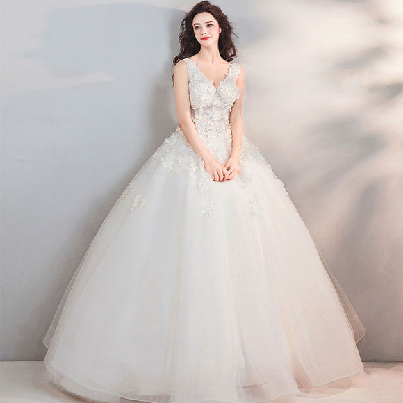 NZ  Bridal V-neck Beading Embroidered Wedding Dress With Double-layer Petal Pleat Bridal Dress