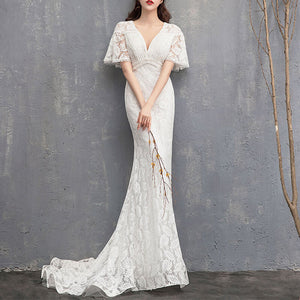 NZBridal Mermaid Ruffle Sleeves Wedding Dress Deep V Cut Slim Lace Travel Shoot Sweet Bridal Wedding Gown