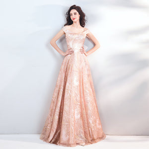 Elegant Peach Sequin Power Pattern Formal Ball Gowns