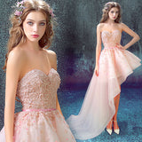 Lovely Pink High Low Asymmetrical Flower Party Dress