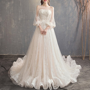 Lovely Sleeves Flower Lace Wedding Dress for Bridal