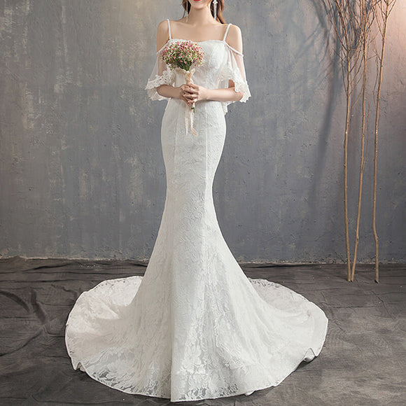 NZBridal Bridal Dress Ruffles Sleeves Slim Sling Backless Bridal Gown Noble And Elegant Long Wedding Dress