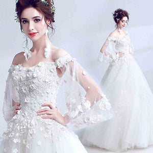 Butterfly Sleeves Off the Shoulder A Line Wedding Gown
