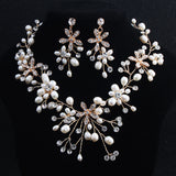 Handcraft Wedding Earrings Necklace Set with Rhinestones& Pearls