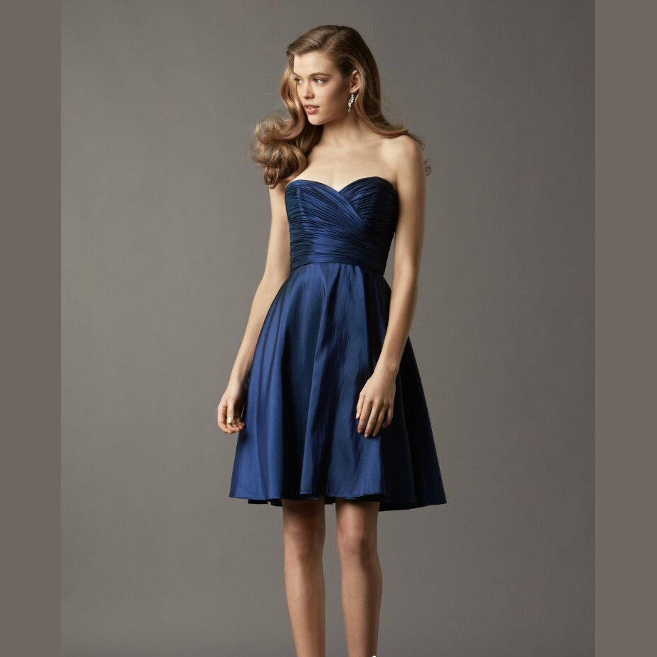 Noble Satin Sweetheart Pleated Bridesmaid Dresses for Wedding Guest