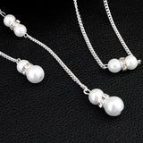 Trendy Pearls Wedding Evening Party High Low Backdrop Necklace