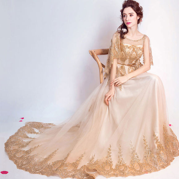 Luxury Cloak Gold Evening Prom Dress