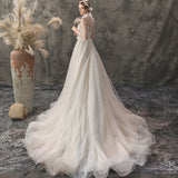 NZbridal Luxury Two Pieces Plunging V Flower Bodice Mesh UnderCloth Beading Skirt Bridal Dress for Wedding