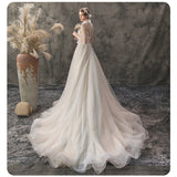 Luxury Two Pieces Plunging V Flower Bodice Mesh UnderCloth Beading Skirt Bridal Dress for Wedding
