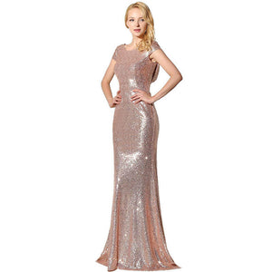 Rose Gold Sequin Back Cowl Neck Long Evening Party Gown