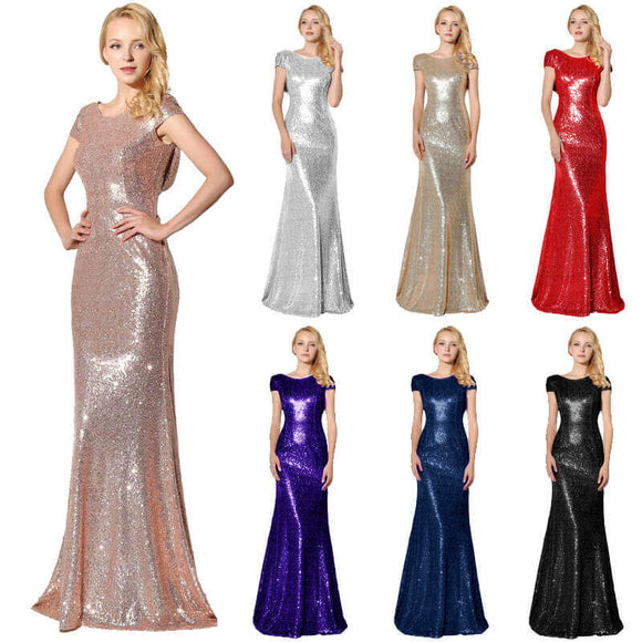 Sequin Back Cowl Neck Long Evening Party Gown