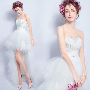 Lovely Pleated Beaded Asymmetrical High Low Sweet Bridal Dress