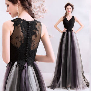 Elegant V-neckline Sleeveless Long Tulle Ball Gown