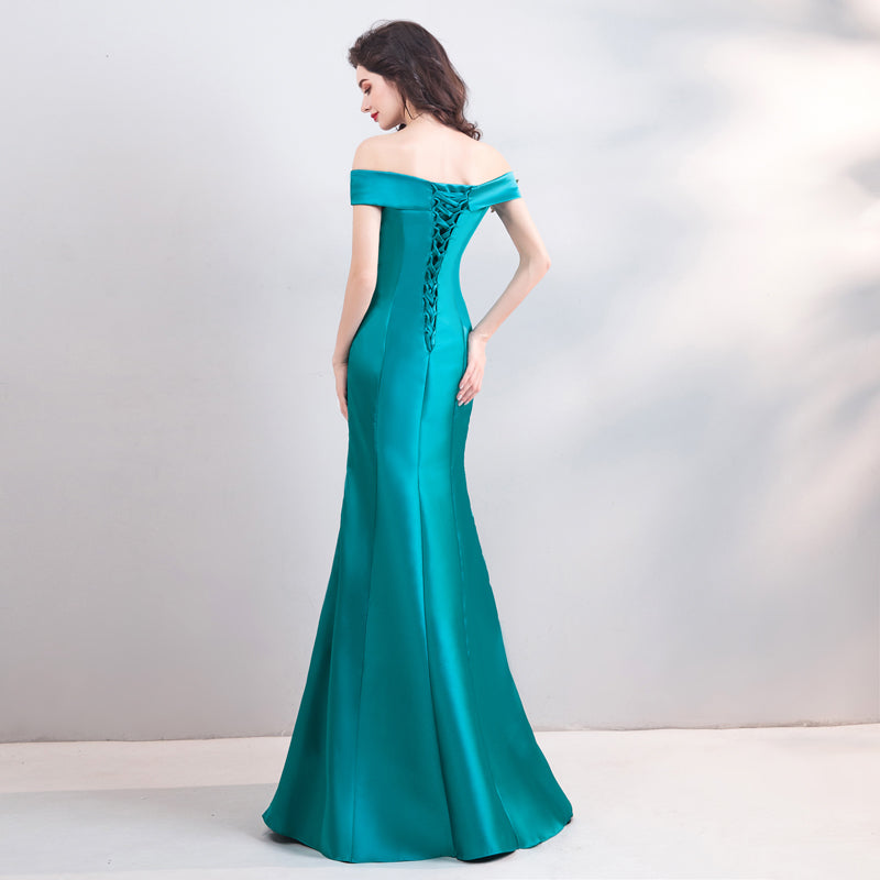 Noble Satin Emerald Mermaid Wedding Gown