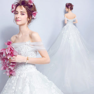 Slash Off The Shoulder Lace Applique Bridal Wedding Gown with Train