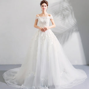 Romantic Off the Shoulder Wedding Bridal Gown with Train