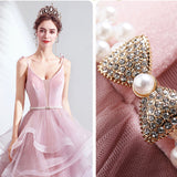 Spaghetti Straps V-neckline Ball Gown With Pearl Waistband