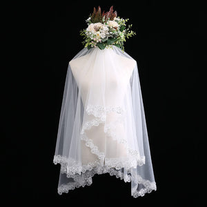 Midi Length Tulle Wedding Bridal Veil with Beaded Lace Appliqués