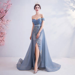 Off The Shoulder Tulle Applique Formal Dress With Front Slit