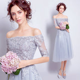 Lovely Slash Neck Tea Length Lace Cocktail Party Dress