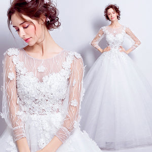 Illusion Lantern Sleeves Semi Transparent Winter Bridal Gown