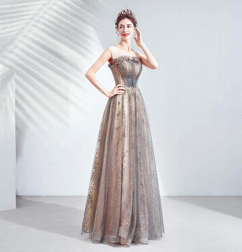 NZ Bridal Illusion Scoop Neckline Sleeveless Sequin A-line Ball Gown Wedding Guest Dresses