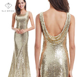 NZ Gold Sequin Back Cowl Neck Long Party Gown