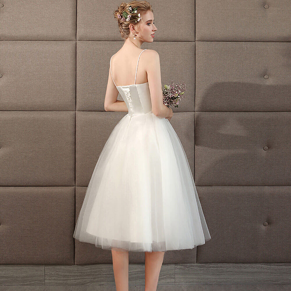 Grace Ballet Spaghetti Straps Sweetheart Satin Tulle Short Bridal Dress