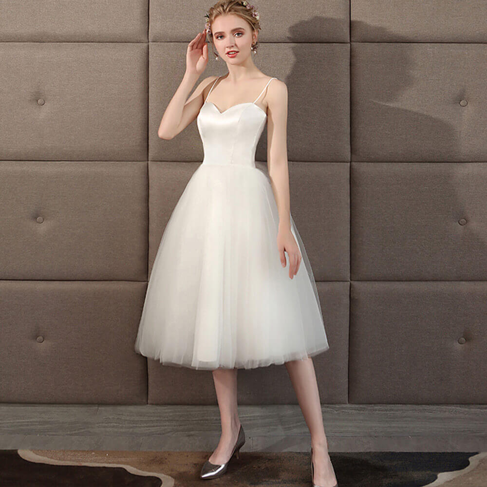 2cdbf5a0493 ... Grace Ballet Spaghetti Straps Sweetheart Satin Tulle Short Bridal Dress  ...