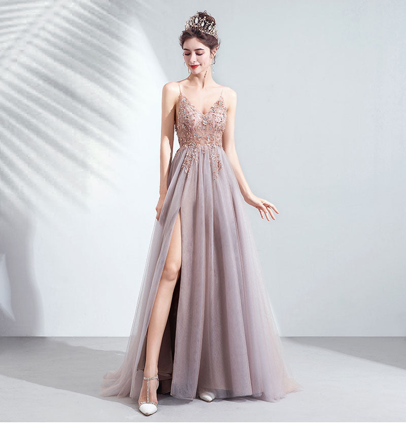 Plunging V-neckline A-Line Embroidered Tulle Gown