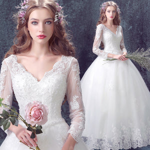 V Cut Long Sleeves Lace Bridal Gown For Winter