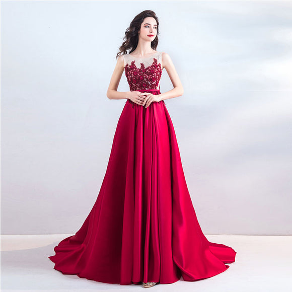 NZ Bridal Red Floral Delicate Lace Embroidery Elegant Sleeveless Formal Long Evening Party Dress