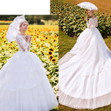 Gorgeous Illusion Long Sleeves Wedding Gown for Brides
