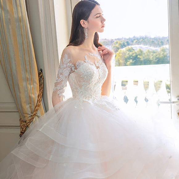 [Final Sale] Illusion Neck Ruffles A Line Bridal Wedding Gown