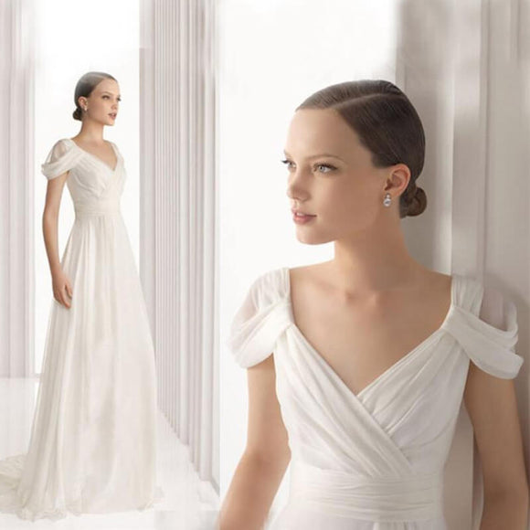 V Chiffon Wedding Dress for Brides Cap Sleeves
