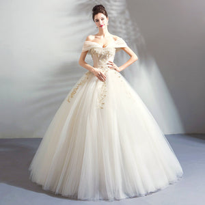 Gauze Off The Shoulder Beadings Bridal Wedding Gown