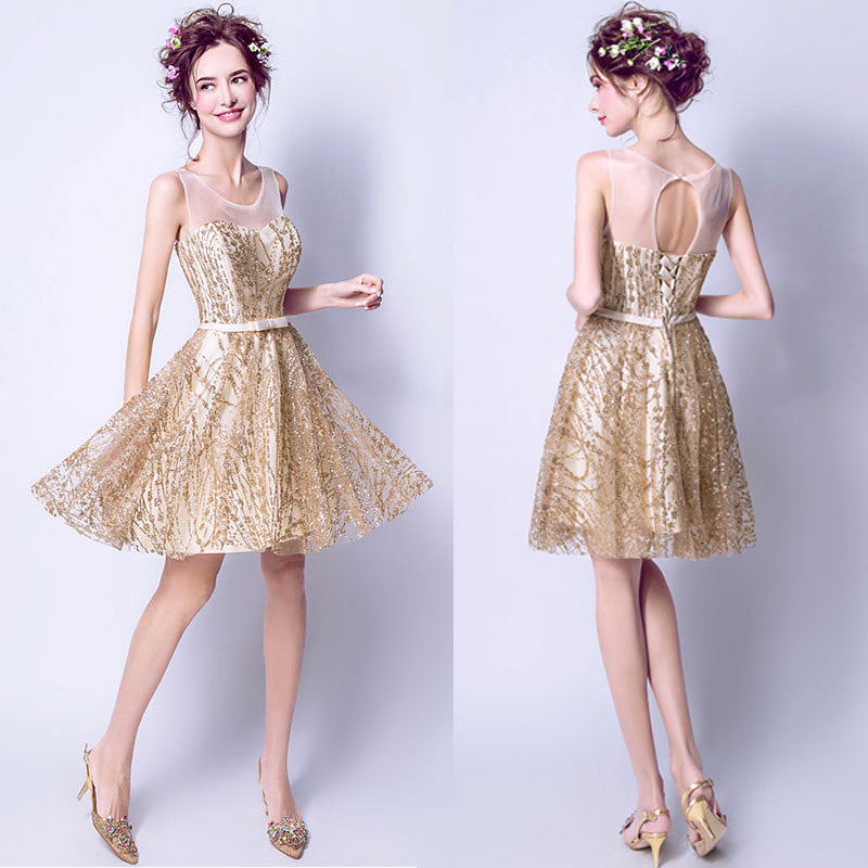 [Final Sale] Luxury Sequined Pattern Organza Little Gold Cocktail Dress