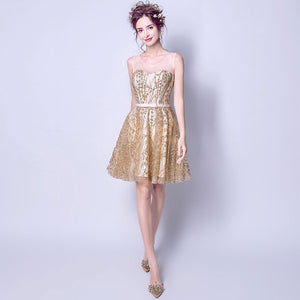 Luxury Sequined Pattern Organza Little Gold Cocktail Dress