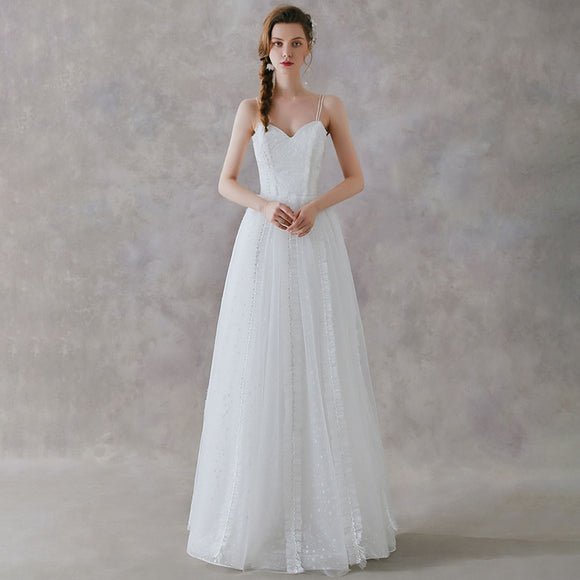 NZ Bridal French Sling Sweetheart Neckline  Illusion Wedding Dresses A-Line Simple Super Fairy Slim Bride Wedding