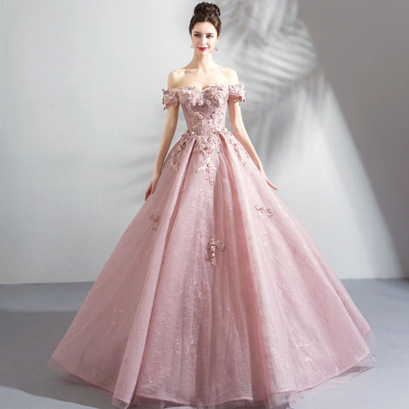 NZ Bridal Blush Pink Luxury Floral Beaded Embroidery Lace Prinsess Gown Formal Flare Dress