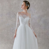 NZ Bridal White Lace Long-sleeved Transparent Word Collar Romantic Bridal Wedding Dress Button Simple Slim Wedding Gowns