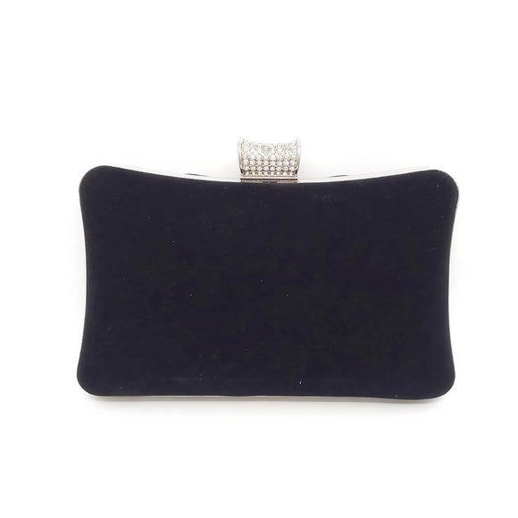 Velvet Evening Handbag Clutch with Rhinestone