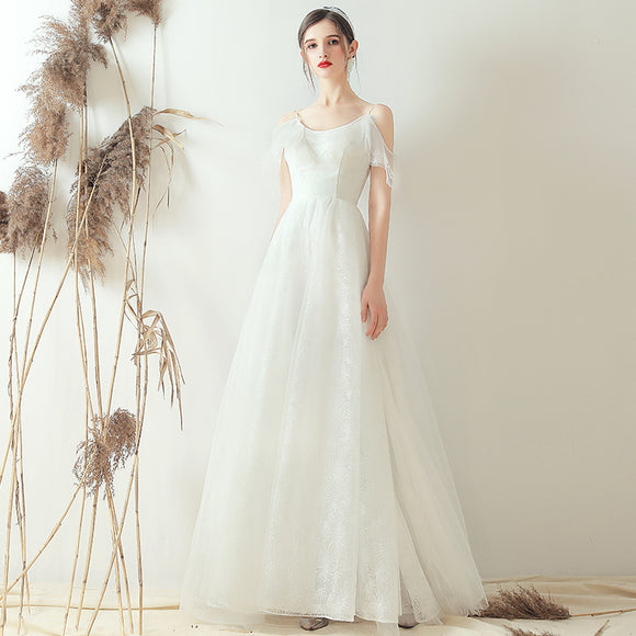 NZ Bridal A-Line Lace Up Strap Ruffle Sleeves Romantic Illusion Flared Dress Simple Slim Wedding Bridal Gowns