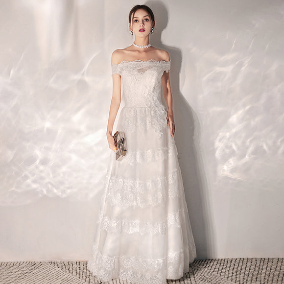 NZ Bridal Off The Shoulder  A-Line Lace Dress Simple Slim Short Sleeves Floor Flare Length Wedding Bridal Gowns