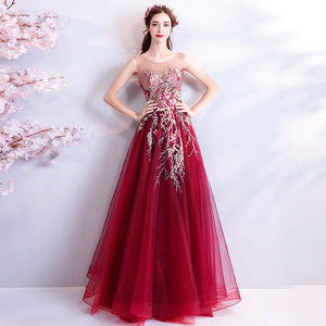 Wine Red Sheer Embroidery Noble Formal Evening Gown