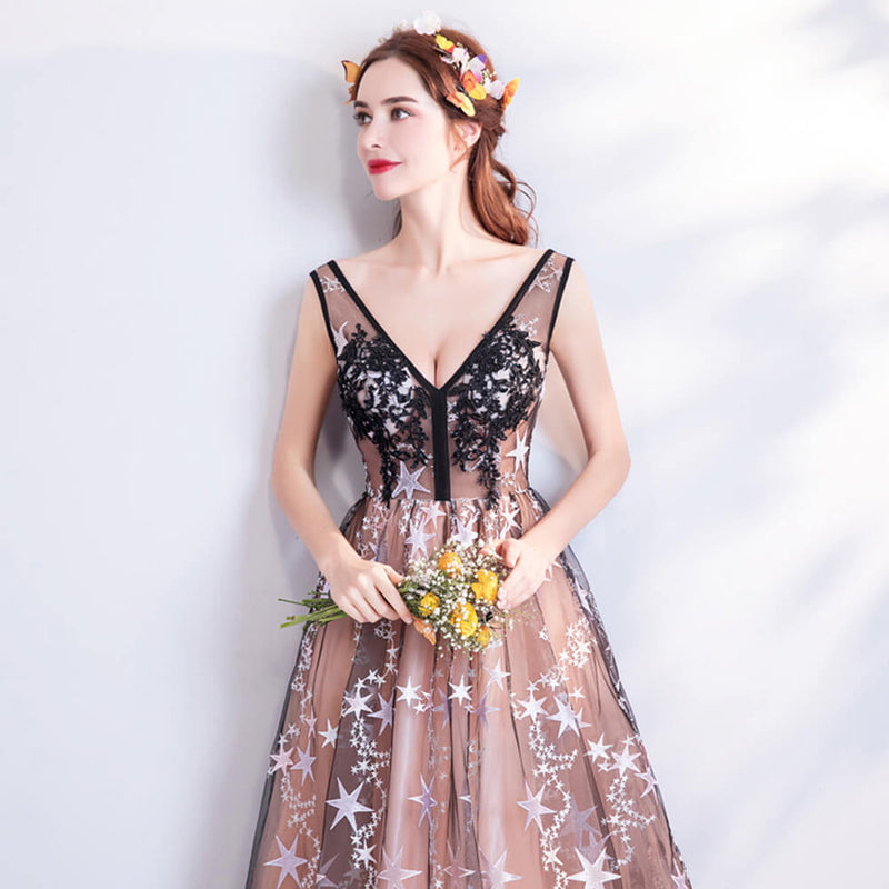 [Final Sale] Sheer Bodice Star Pattern Champagne Lined Graduation Dress