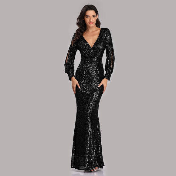 Black Sexy Sequined Slit Sleeve Mermaid Evening Dresses-Erina
